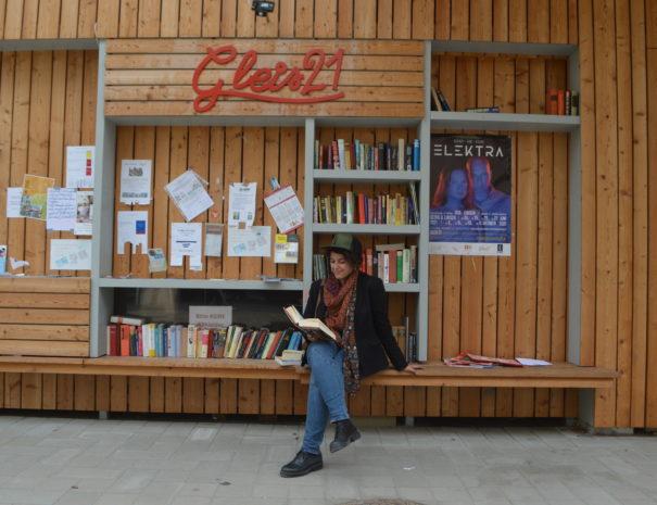 Stopp vor der Grätzelbibliothek auf der Tour / Führung durch den Sonnwendviertel in Wien